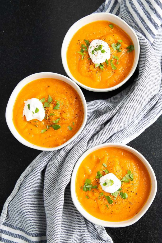 Carrot Ginger Soup with a Dollop of Cashew Cream