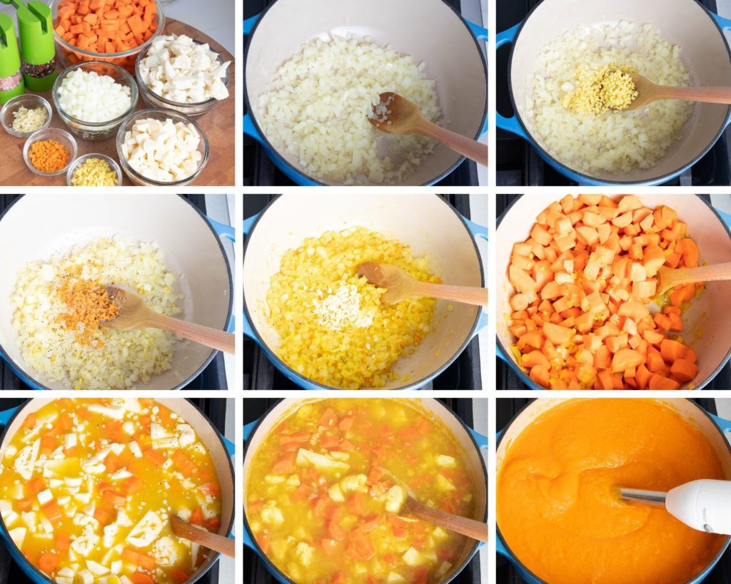 Step by Step, making carrot ginger soup