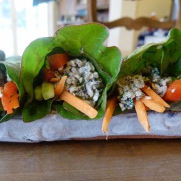 Mock vegan tuna inside a collard green wrap with julienned carrots.