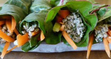 Leafy greens make an awesome wrapper for this vegan filling.