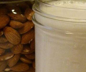 Freshly made almond milk.