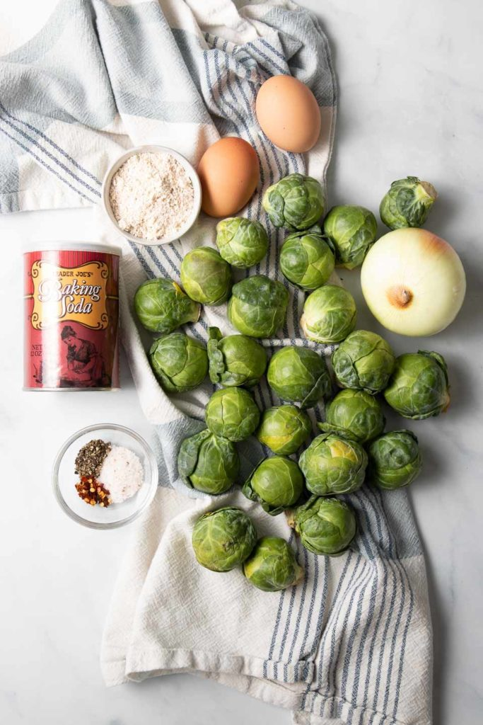 Brussels Sprouts, onions, spices, eggs and ground oats.