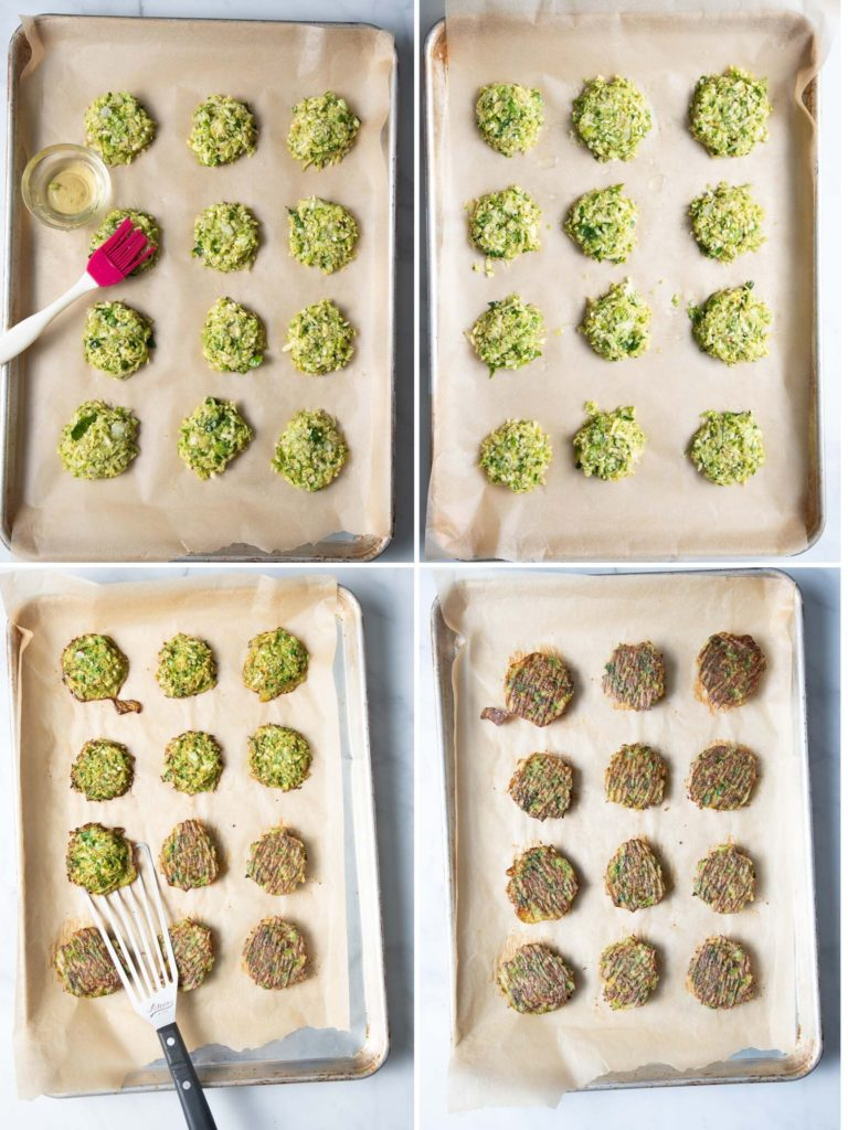 Step by step brussels sprouts latkes on baking trays, brushed with oil and cooked.