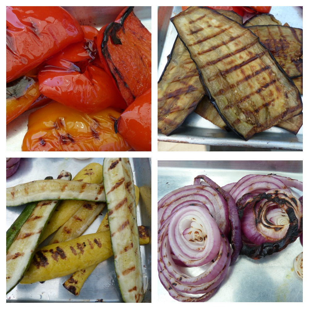 close up of grilled veggies:  red peppers, eggplant, zucchini and purple onions.