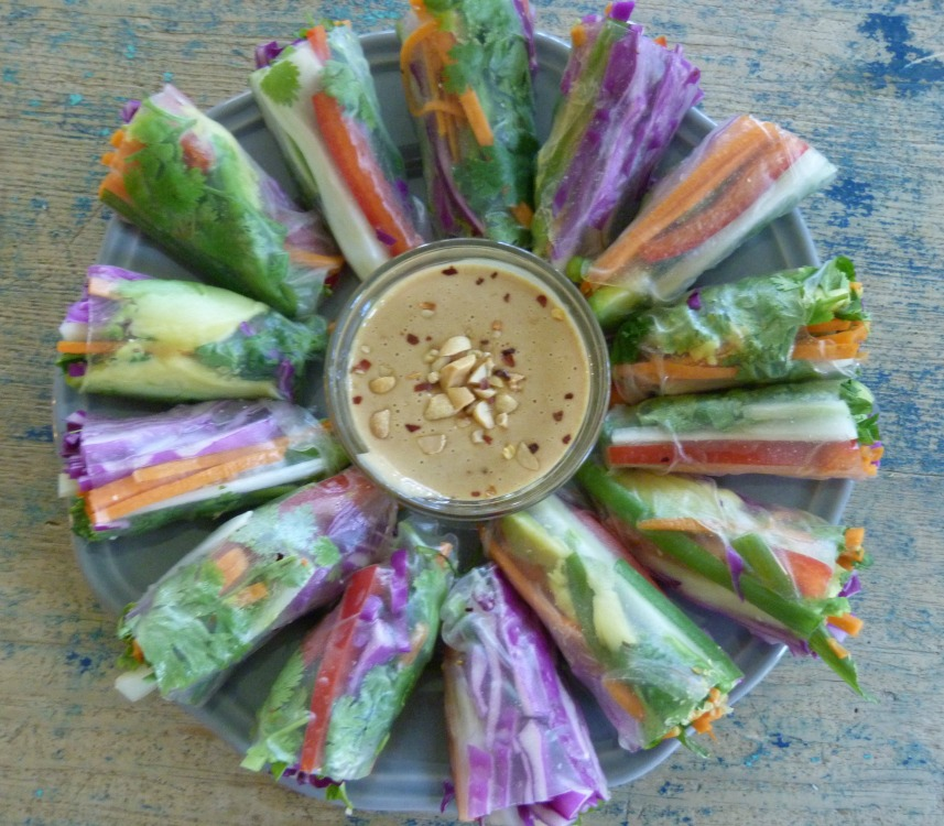 Veggie Spring Rolls with Peanut Dipping Sauce