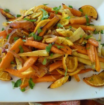 Roasted Root Veggies with Oranges. A bright and beautiful side dish for Thanksgiving.