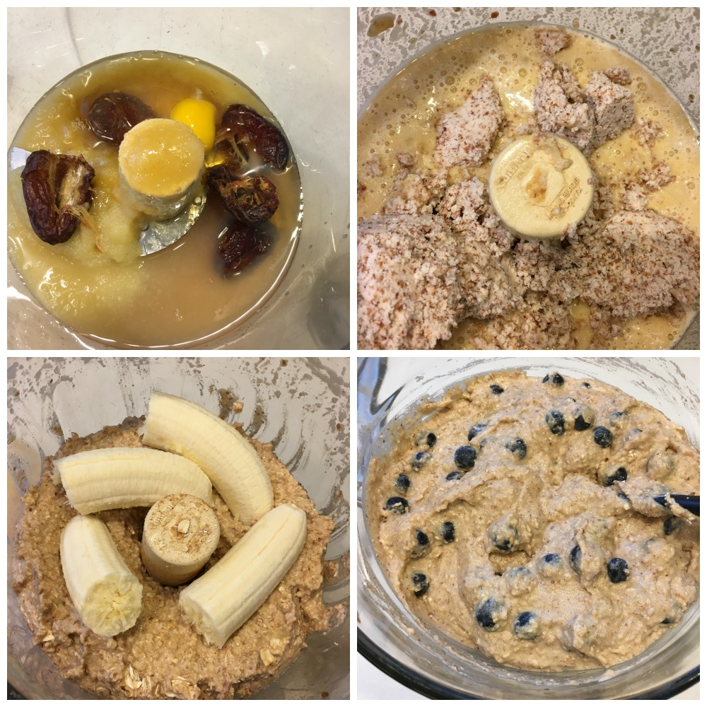 Step by step making the batter in a food processor for banana bread