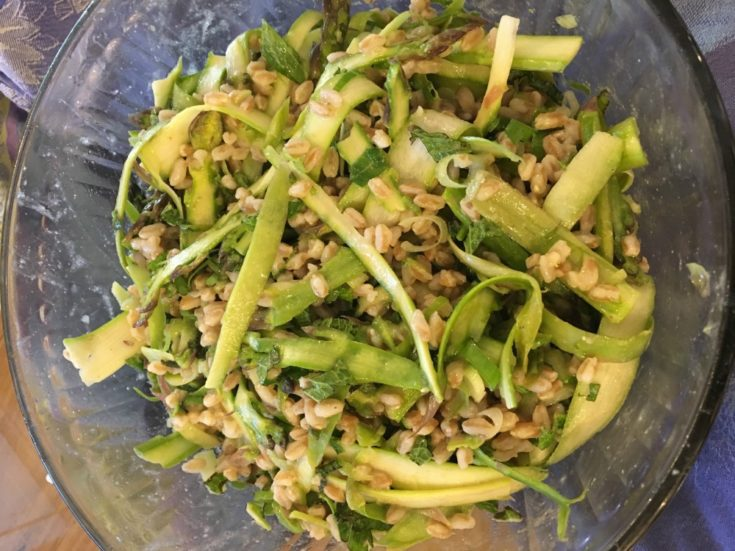 Healthy Shaved Asparagus and Faro Salad