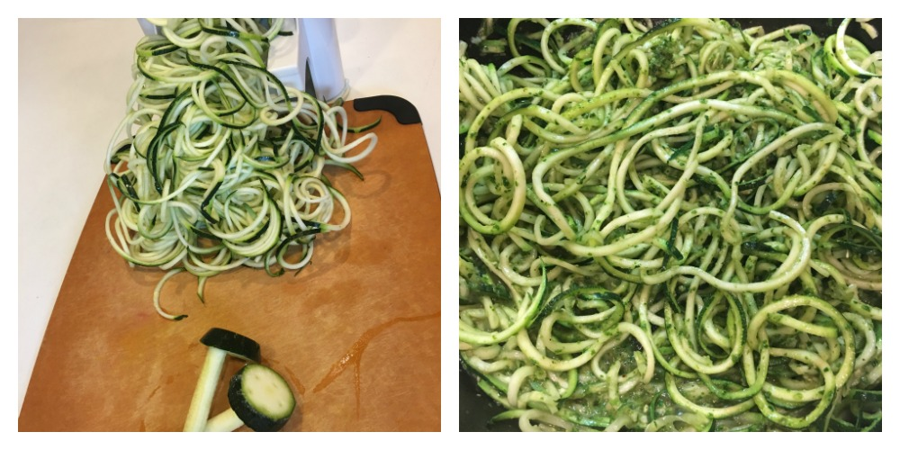 Spiralizing zucchini to serve with the pesto.