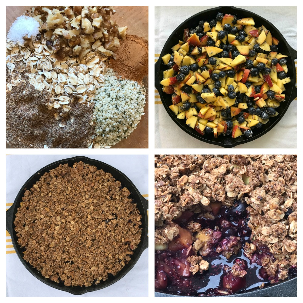 Step by step making a skillet crisp with nectarines and berries on the bottom and an oatmeal, nut topping