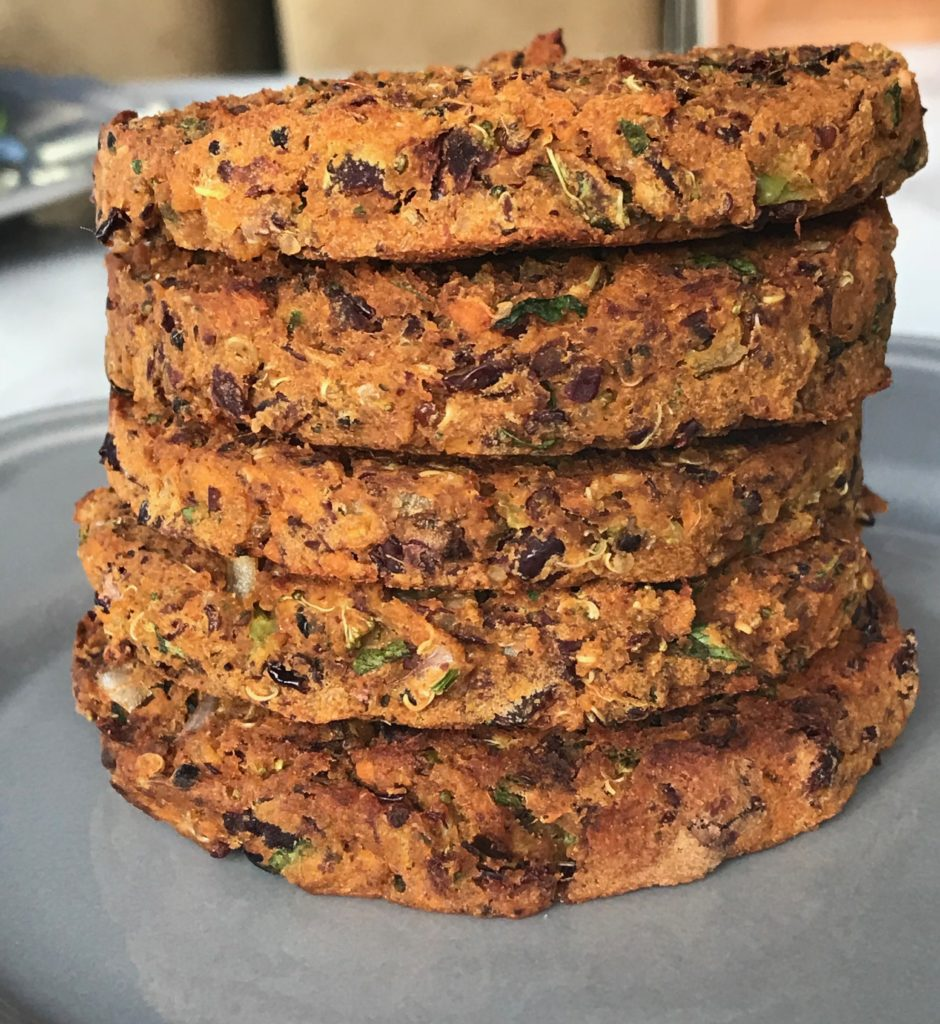 A stack of sweet potato burgers