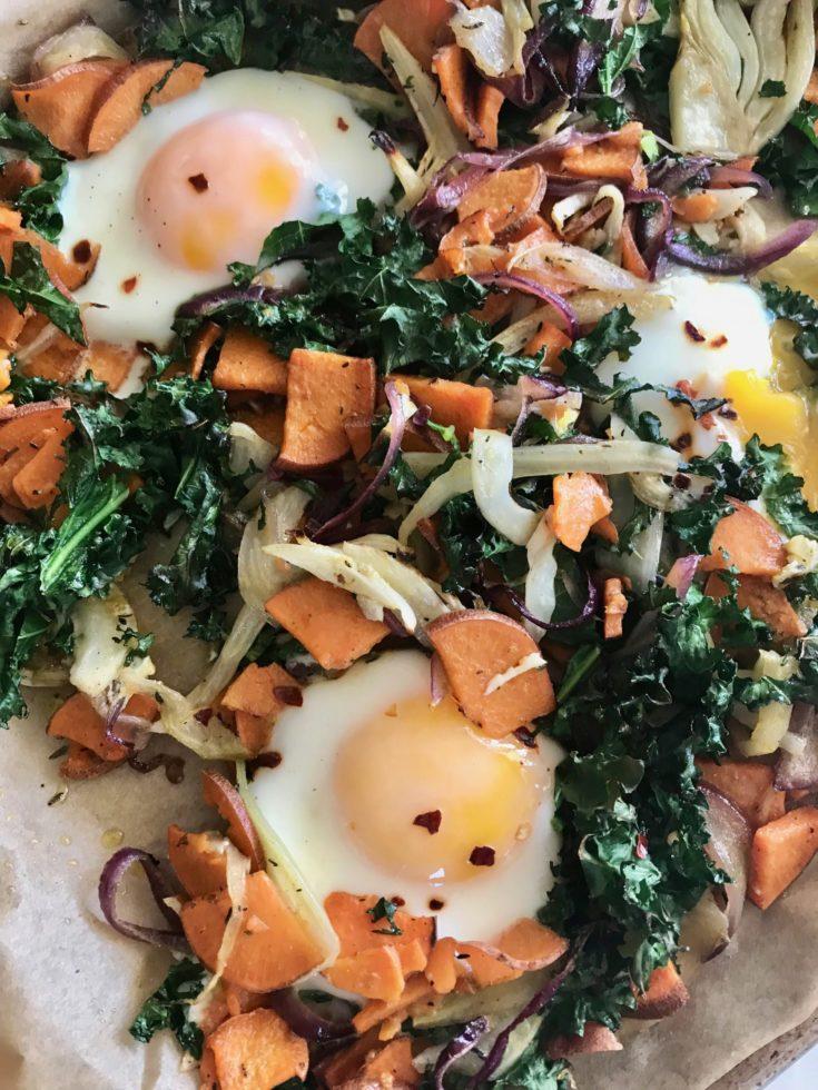 Sheet Pan Veggie Hash + Eggs