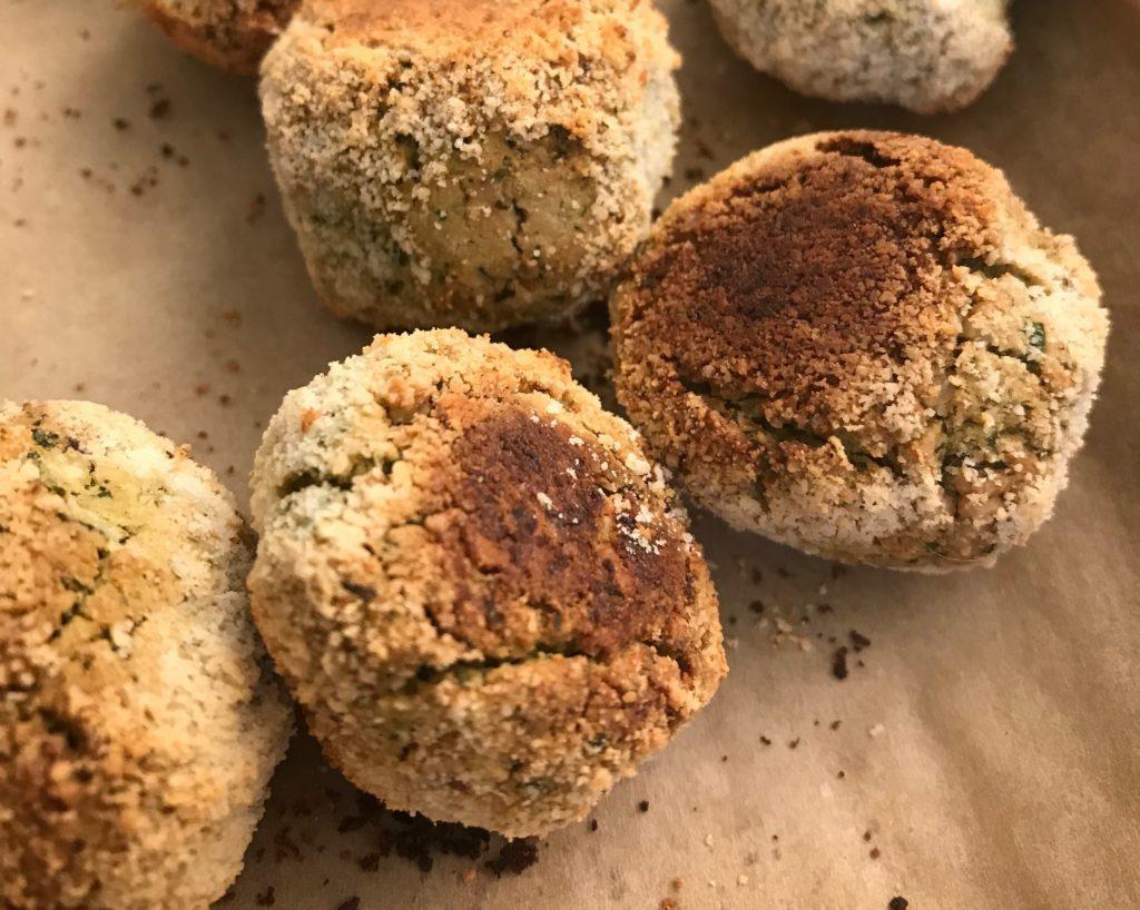 Baked falafel are still crispy.