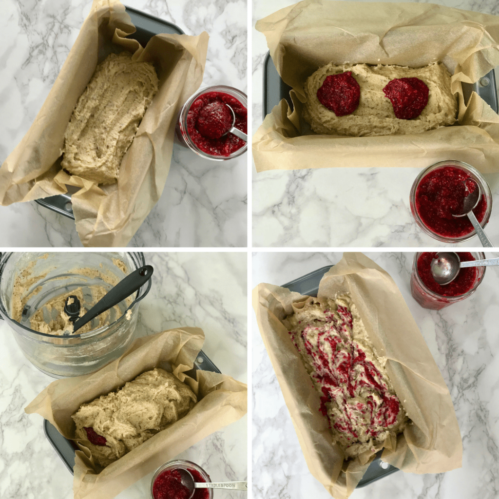 Step by step filling loaf pan with batter and raspberry jam.