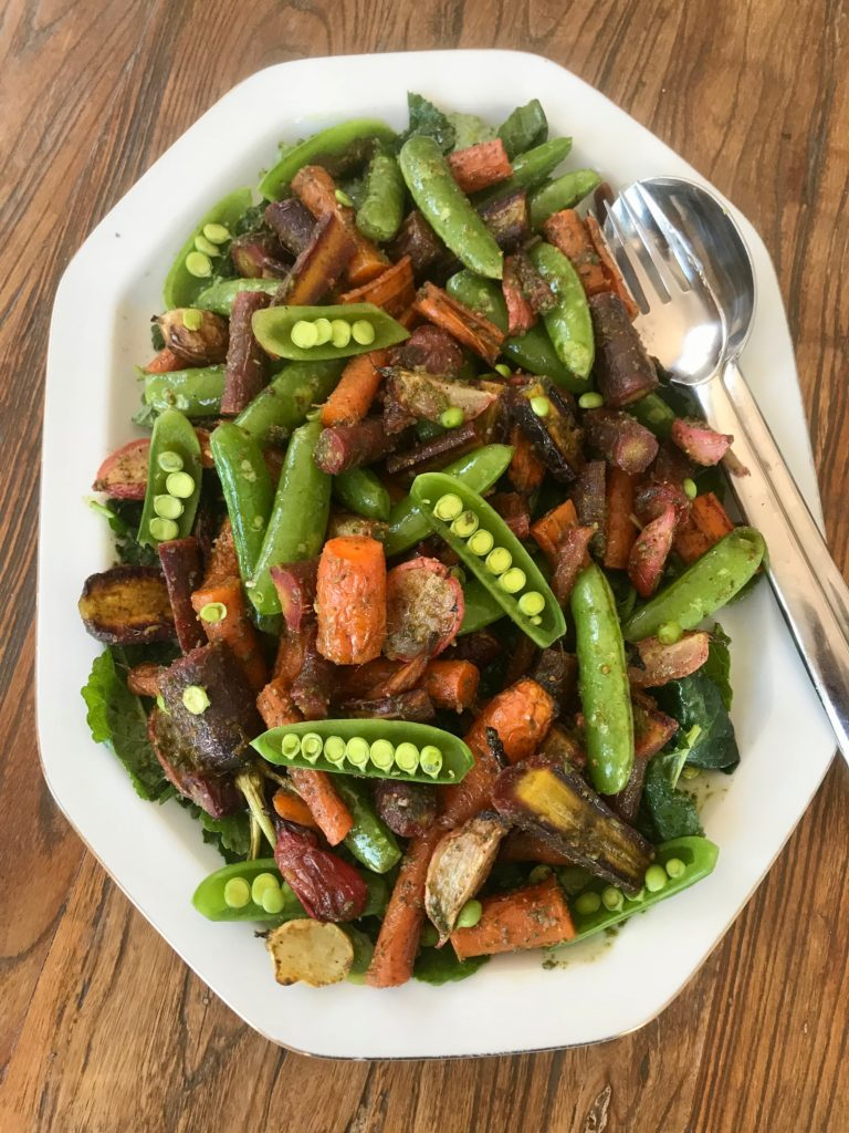 Roasted Veggies with Carrot Top Pesto