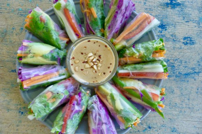 Spring Rolls filled with colorful veggies.