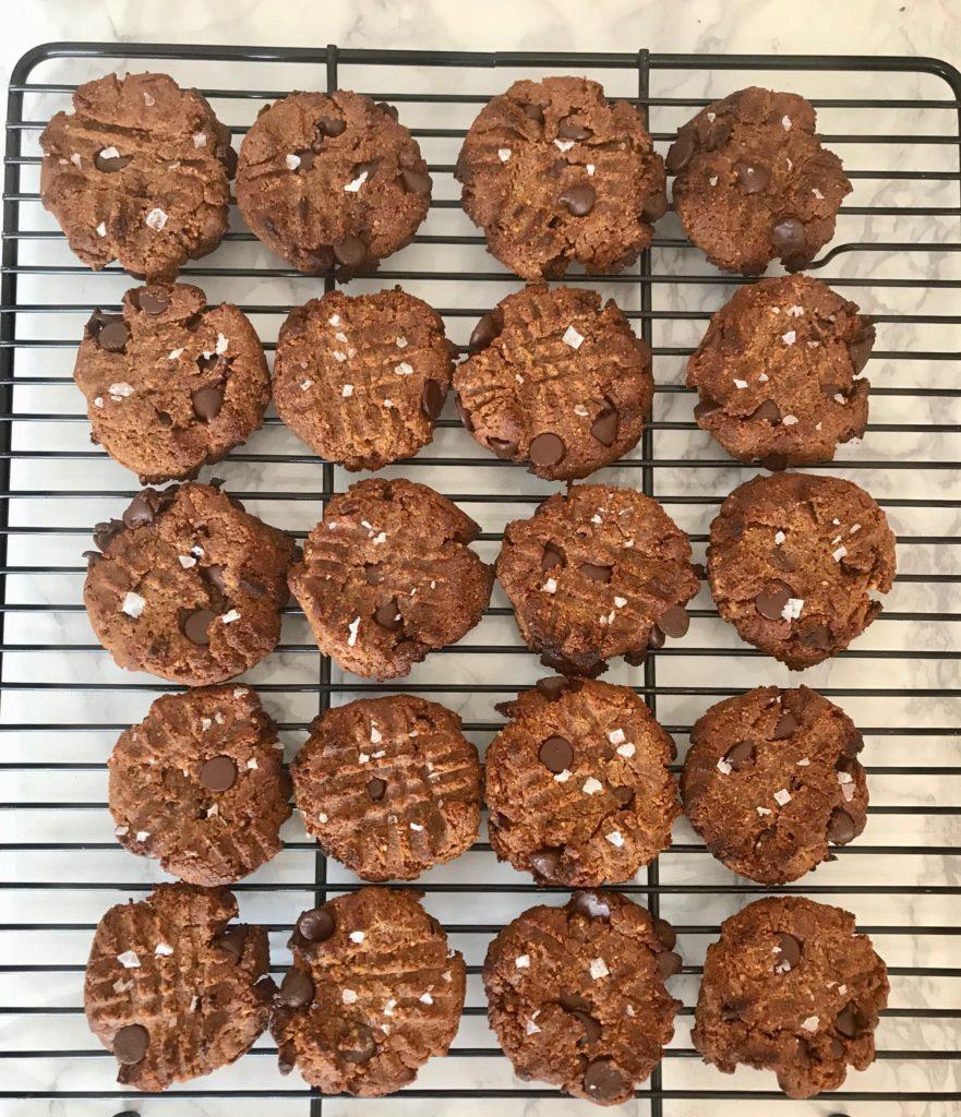 Rack of cookies cooling.