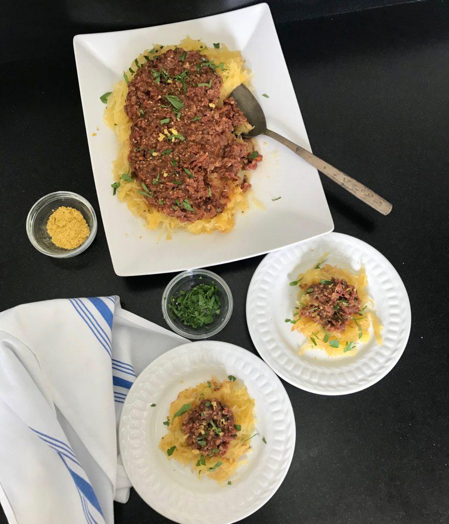 Vegan Bolognese over Spaghetti Squash