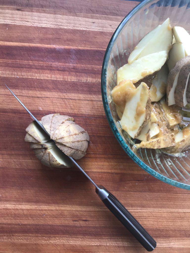 Maple Miso Potato Wedges. Healthy snack.