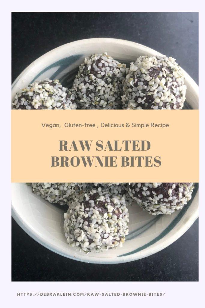 Raw Salted Brownie Bites: Vegan, Gluten-free, Raw, Healthy, Chocolate Brownies. Simple Recipe with Wholesome Ingredients.