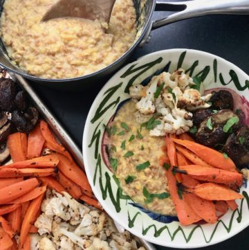 Dijon lentils with roasted veggies