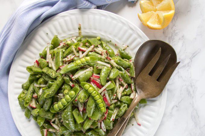 Sugar Snap Peas, Radishes with a lemon dill vinaigrette