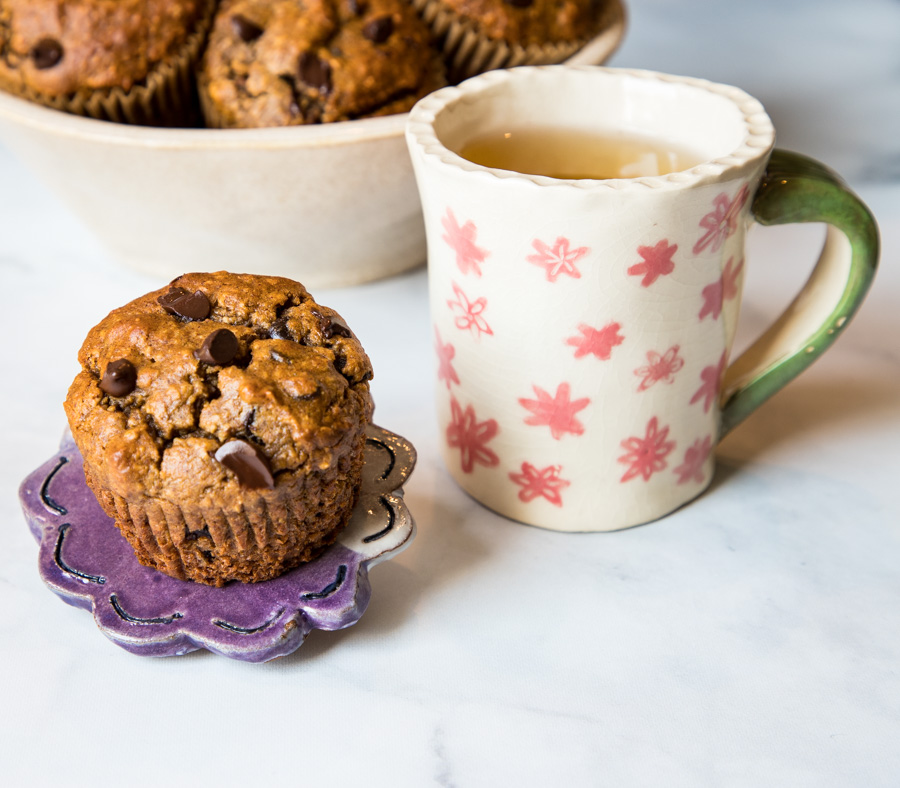 A cup of tea with a muffin.