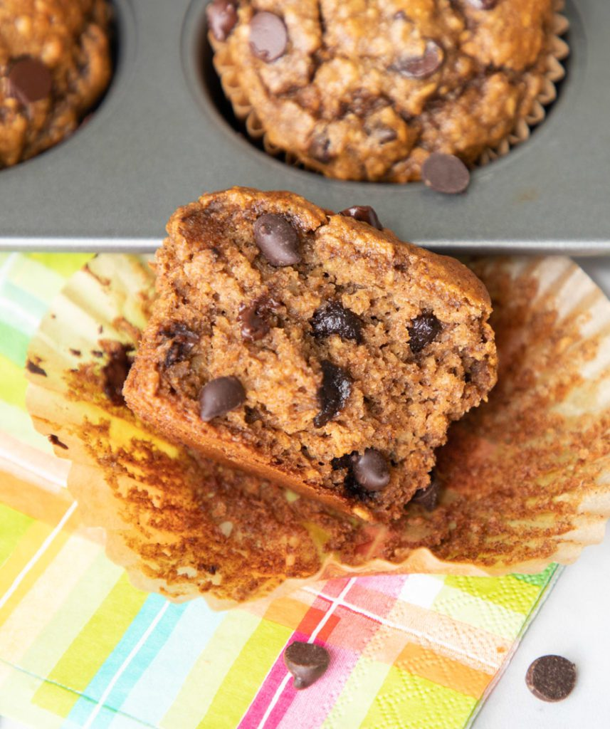 Inside of muffin, moist and full of chocolate.