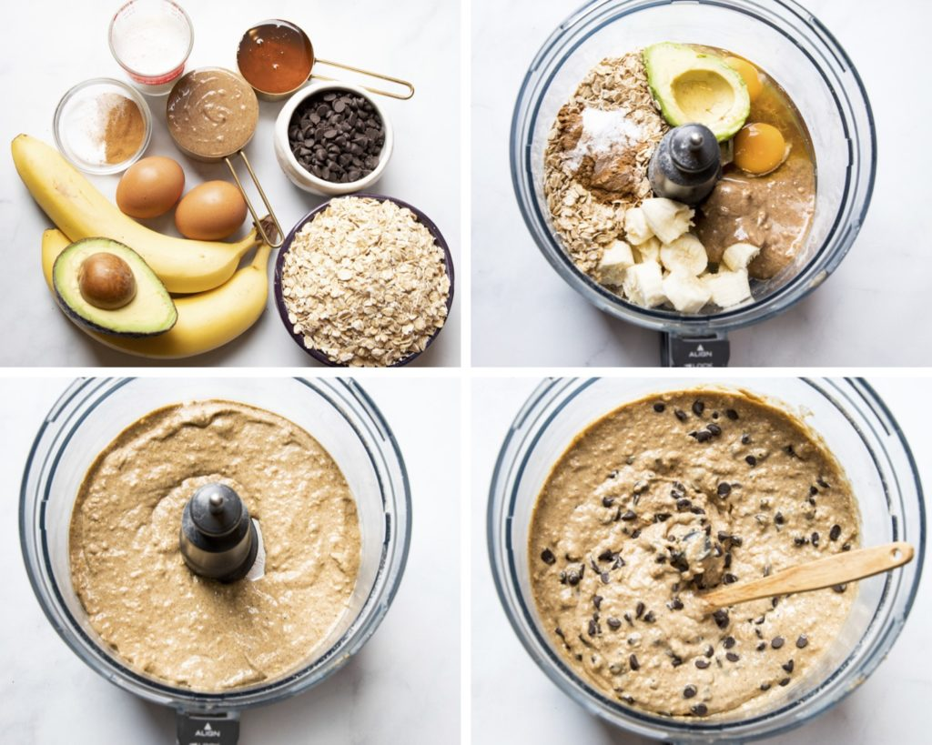 Ingredients and process shots for batter.Avocado, banana, oatmeal, syrup, chocolate chips