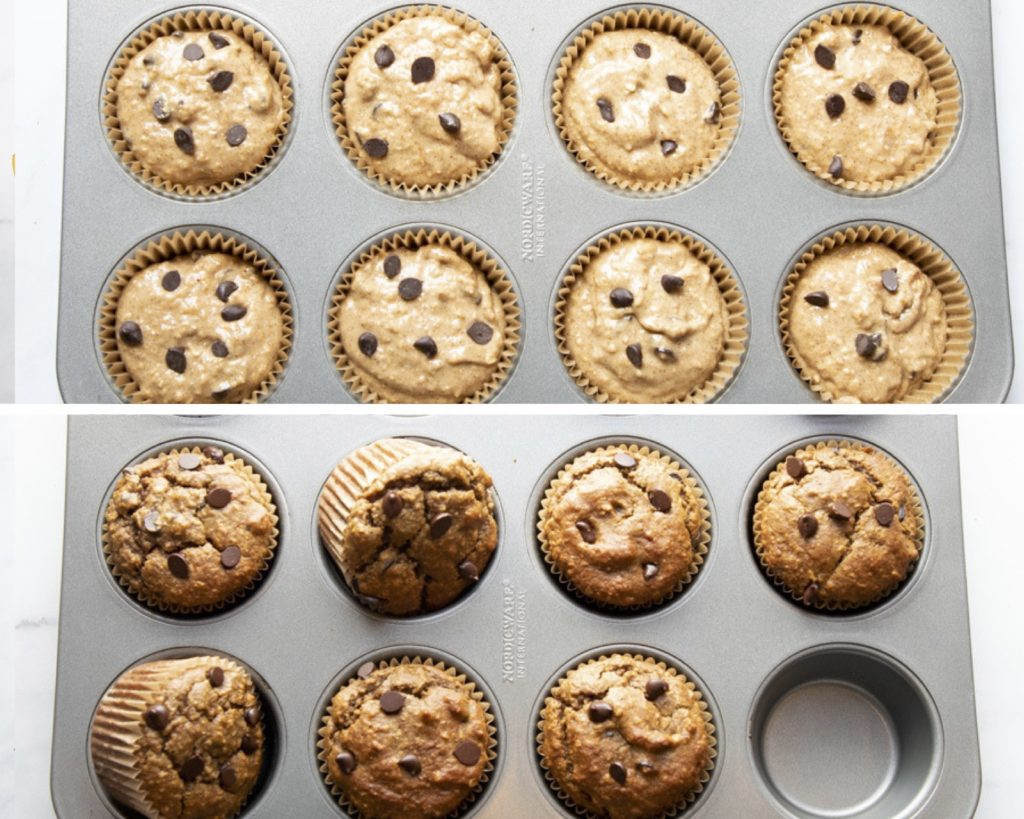 Batter in muffin tins and after baking.