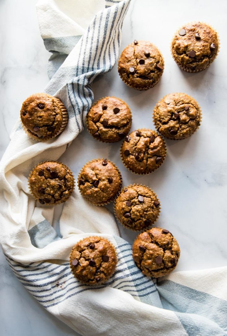 Chocolate Chip Muffins tumbled onto a dish towel