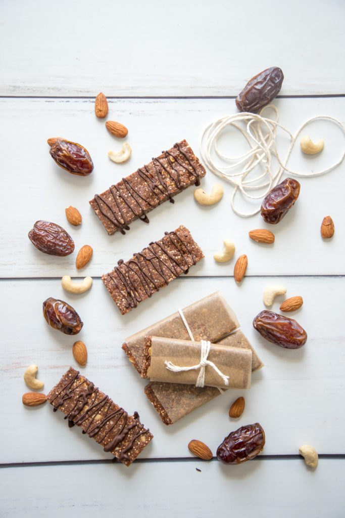 Nuts and dates. Pack an energy bar to go.