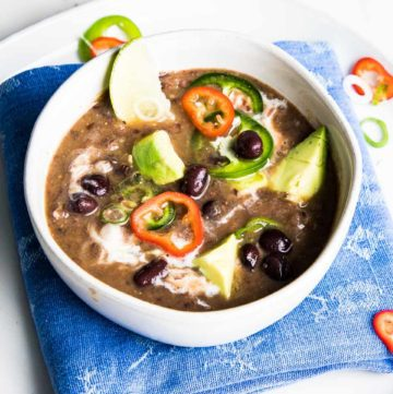 Black Bean Soup with avocado, jalapenos and scallions