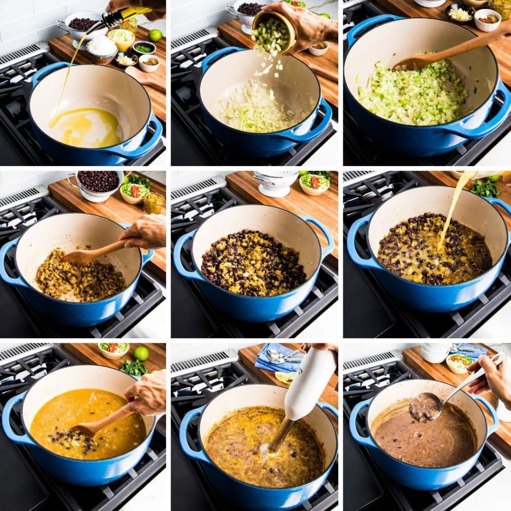 Step by step making black bean soup from saute veggies to puree with immersion blender