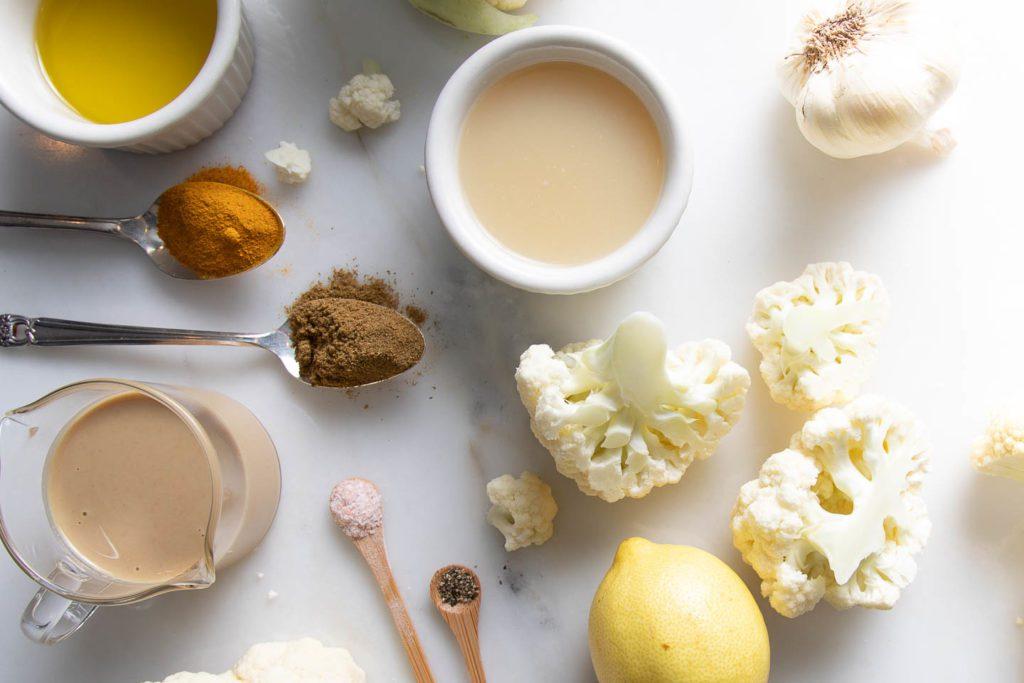 Ingredients: tahini, spices, cauliflower, olive oil, lemon
