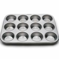 Fox Run 4868 Muffin Pan, 12 Cup, Stainless Steel
