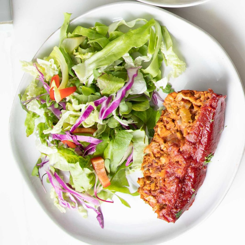 Simple Salad + Vegan Meatloaf