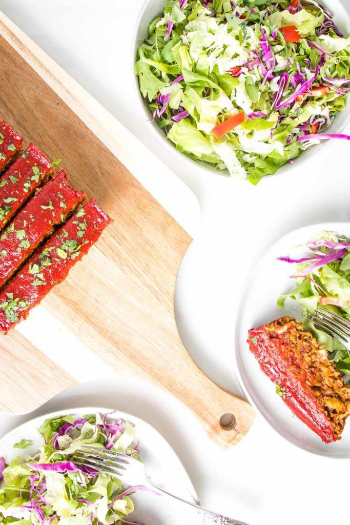 Meatloaf and salad.