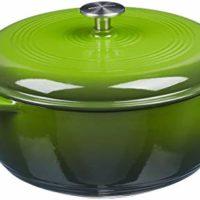 AmazonBasics Enameled Cast Iron Covered Dutch Oven, 6-Quart, Green