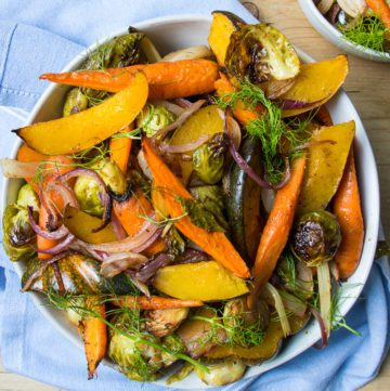 Big chunks of colorful veggies...perfect for a Thanksgiving Side Dish.