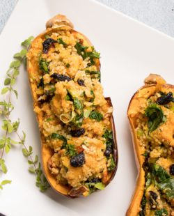 Beautiful Platter with individual sized butternut squash stuffed with veggies and quinoa.