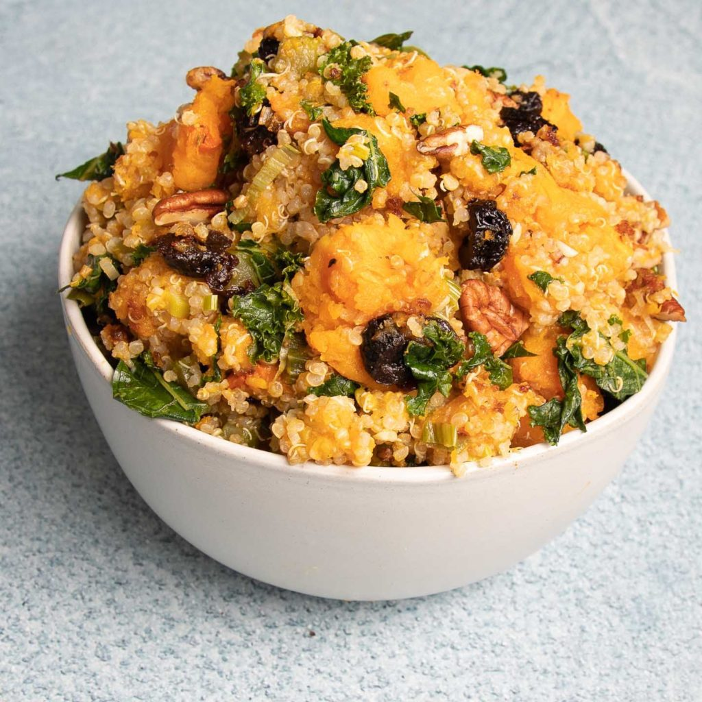A bowl of squash stuffing.