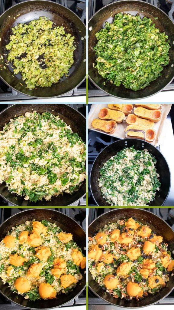 Step by Step making quinoa, kale and squash stuffing.