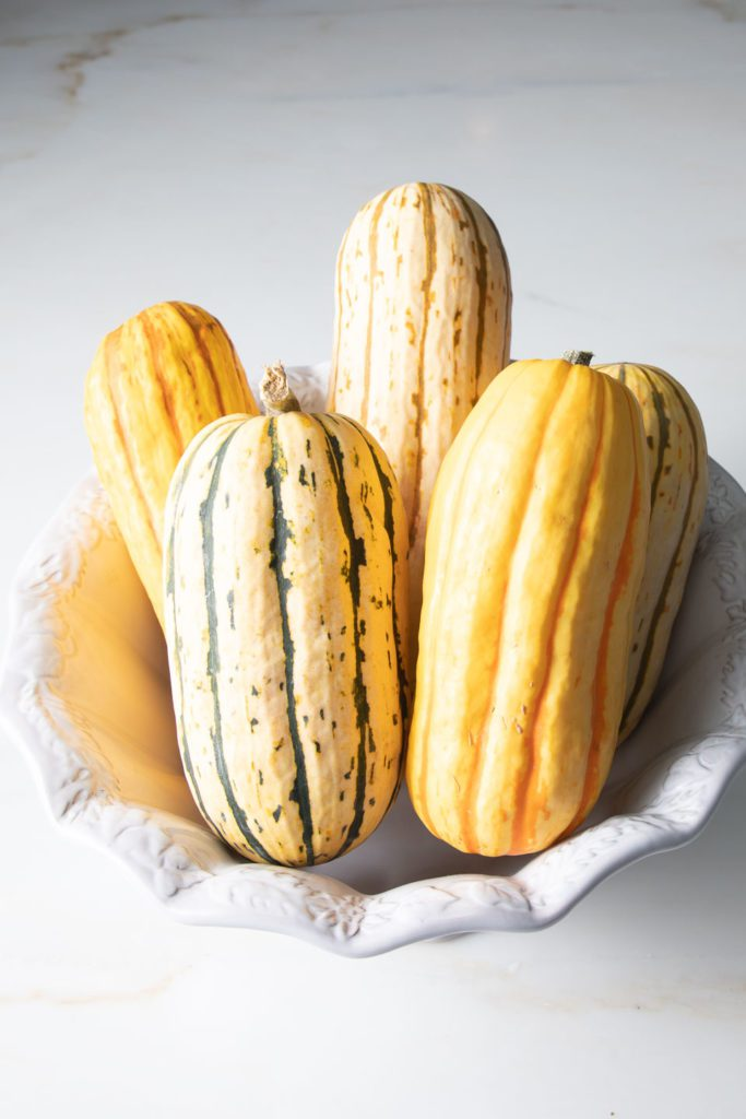 A bowl full of different colors and sizes of delicata squash.