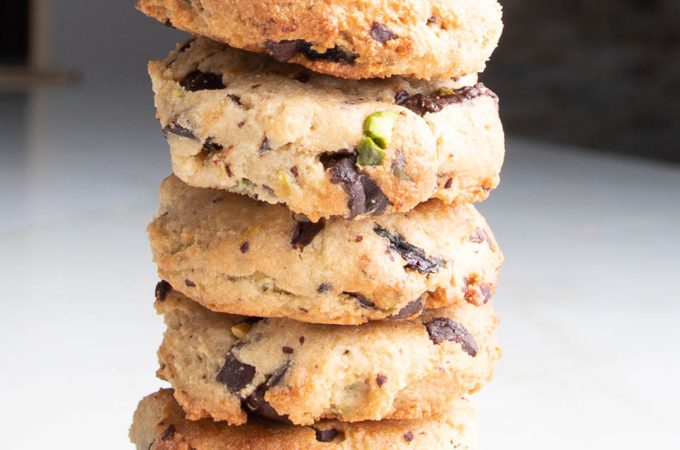 A stack of gluten-free vegan chocolate chip cookies.