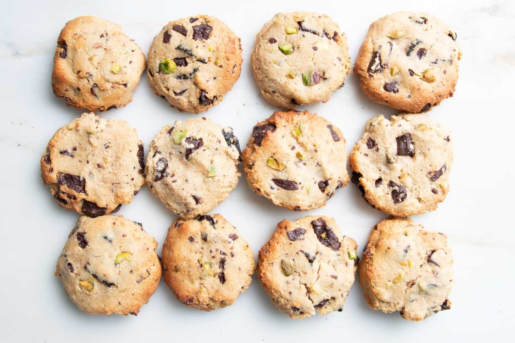 Chocolate Chip Cookies with Pistachios and Dried Cherries