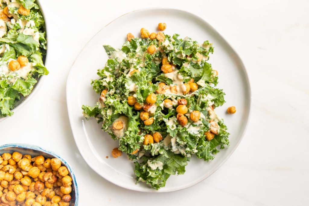 Kale, creamy dressing, chick pea croutons,