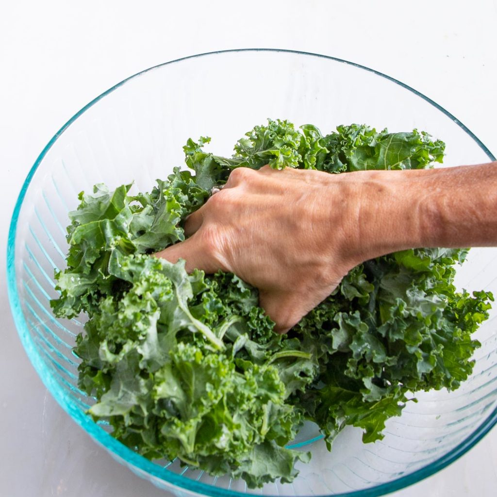 Kale massaged by hand