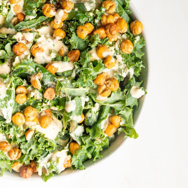 Kale, creamy dressing and crunchy chick pea croutons