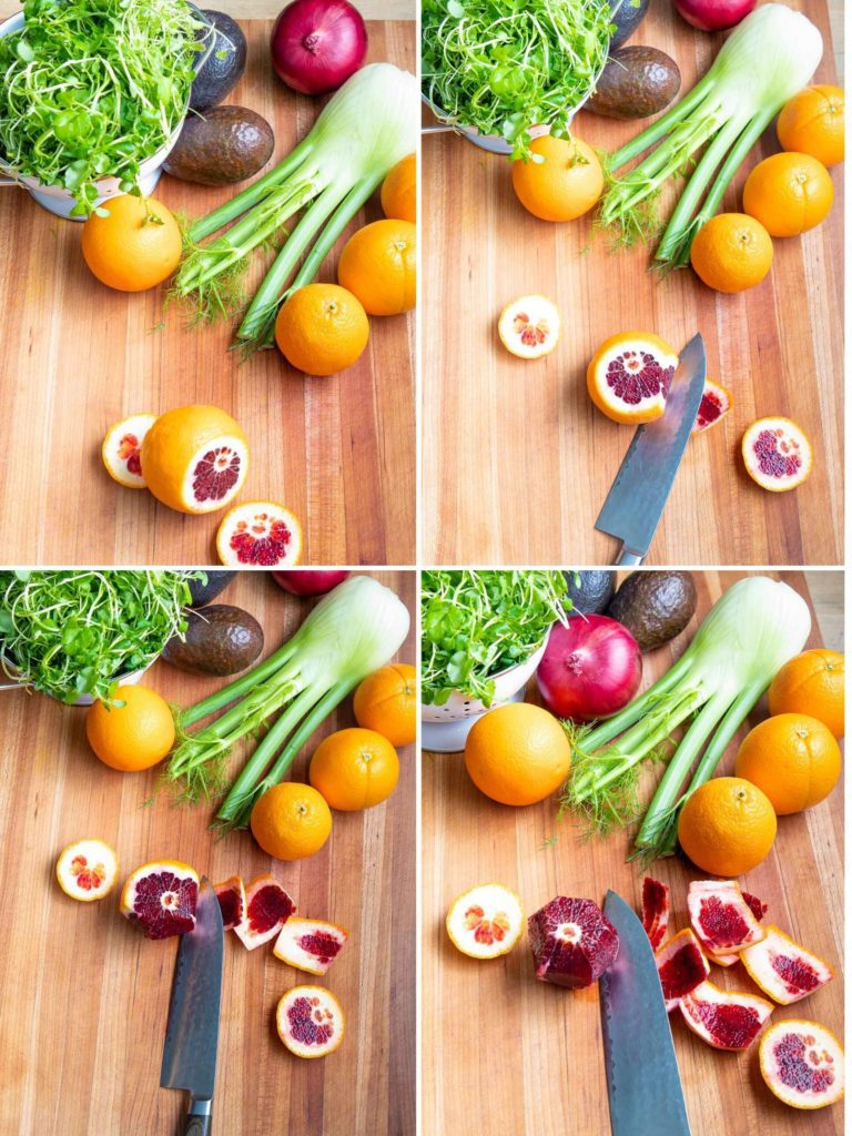 Step by Step peeling an orange for salad